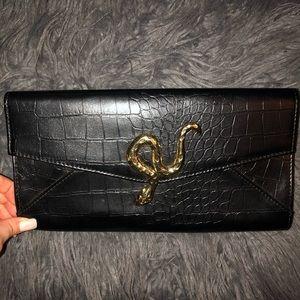 Vintage large snake print clutch